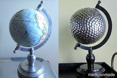 Disco ball + globe + thumbtack vase filler = unique decor and conversation piece.