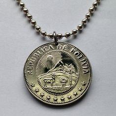 1965 Bolivia 50 centavos coin pendant charm necklace jewelry sun mountains Cerro Rico Cerro Menor chapel palm tree llama alpaca No.001442 by coinedJEWELRY on Etsy