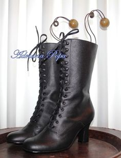 Black Victorian Boots Black leather Ankle Boots Black leather