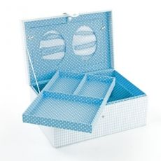 Mele & Co Baby Memories Lift Out Tray & Photo Frames Blue & White Checkered Fabric Box