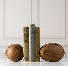 Vintage Leather Sportsball Bookend | Accessories | Restoration Hardware Baby & Child