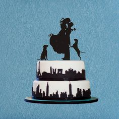 Custom Wedding Cake Topper,Bride and Groom Wedding Silhouette Couple with Dog Cake Topper,Wedding Cake Decoration,Two Dog Cake Topper by LEPOPSTARS on Etsy https://www.etsy.com/listing/247262042/custom-wedding-cake-topperbride-and