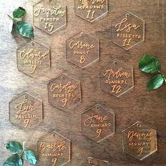 Wedding Trends Calligraphed acrylic hexagons as escort cards - 11 hot wedding trends for Wedding Signage, Wedding Seating, Wedding Table Numbers, Wedding Themes, Diy Wedding, Wedding Decorations, Wedding Favours, Wedding Gifts, Wedding Ideas