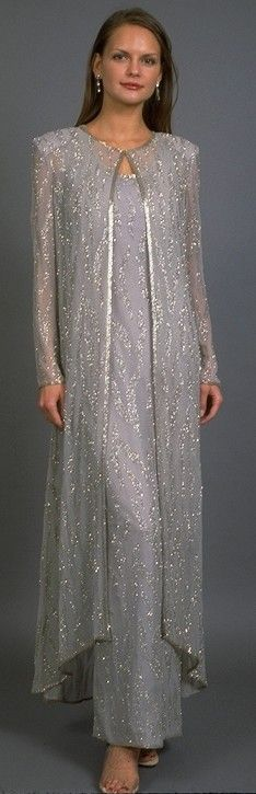 And now, for the wedding dress.  Somewhat problematical because I am plus sized and tall.  But I found this on line.  And this is what I'd be comfortable in with a jacket and sequins.  With a long trailing flower bouquet, very lovely!