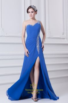 Royal Blue One Shoulder Evening Dresses,Royal Blue Dress With Beadings And Slits