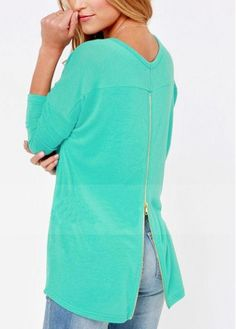 Enchanting Round Neck Long Sleeve Sweats with Zipper