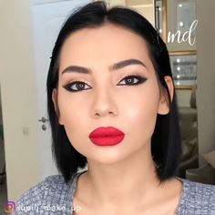 A stunning classic look with pretty red lips! By: What's Makeup ? What is Makeup ? Makeup For White Dress, Red Dress Makeup, Red Lips Makeup Look, Makeup For Brown Eyes, Fall Makeup, Contour Makeup, Beauty Makeup, What Is Makeup, Makeup Hacks Videos