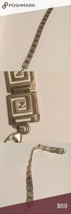 Sterling Silver Greek Key Bracelet Matching Bracelets🎉Firm Price‼️🎉⚔️💯Authentic⚔️ Beautiful Sterling Silver Handmade Stamped Greek key Bracelet Purchased it Many years ago at The Greek festival in Charlotte NC. Worn twice Excellent Condition. Matching Necklace sold separately in another listing Greek  Jewelry Bracelets