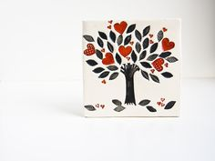 Tree of Life, ceramic tile, loving Mothers Day gift, family tree, black white and red by karoArt ceramics Personalized Valentine's Day Gifts, Heart Wall Art, Ceramic Wall Tiles, Handmade Tiles, Parent Gifts, Fish Art, Ceramic Artists, Wall Art Designs, Cool Walls