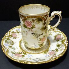This porcelain chocolate cup and saucer was produced in Austria in the late century. There are bands of gold filigree and gold trim just inside the rim of the cup and around the well of the saucer. Tea Pot Set, Cup And Saucer Set, Tea Cup Saucer, Antique Tea Sets, Teapots And Cups, Teacups, Vintage Cups, Tea Sets Vintage, Chocolate Cups