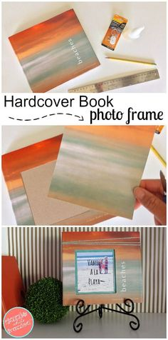 Turn a hardcover coffee table book into a unique wall photo frame as part of a gallery wall or bookshelf decor. Insert photo within book as diy home decor.
