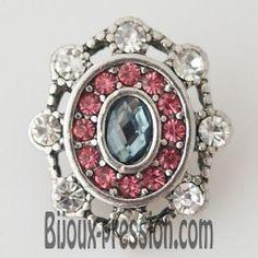 Bouton métal strass gris rose et blanc