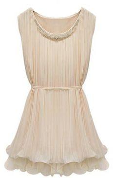 Apricot Sleeveless Bandeau Bead Chiffon Dress - Sheinside.com