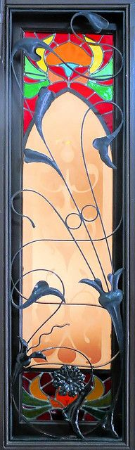 Arnau Calvet i Peyronill (1874-1956) - Floral Leaded Glass Window Panel. Coloured Glass with Lead Came and Metal Overlays. Designed & Made for Casa Joan Parellada II. Barcelona, Spain. Circa 1907.