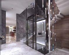 House Staircase, Interior Staircase, Home Stairs Design, Lobby Interior, Dream Home Design, Facade House, Interior Exterior, Door Design, Villa Design