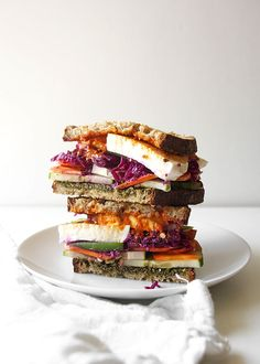 Pesto Mozzarella Sauerkraut Veggie Sandwich | The Kitchen Paper
