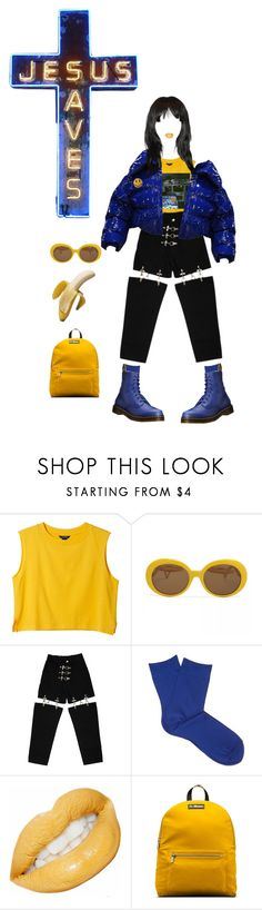 """""""BLUE // YELLOW"""" by treasureforever ❤ liked on Polyvore featuring Monki, M.Y.O.B., Falke and Dr. Martens"""