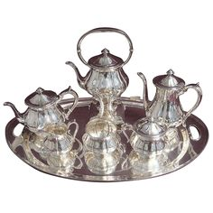 Arthur Stone Sterling Silver Tea Set Tilting Kettle on Cradle with Tray Early 20th Century