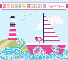 Digital Clipart - Cute Bird Nautical Fun Ocean Sea Beach - Clip art for scrapbooking, party invitations, Personal and Small Commercial Use Nautical Colors, Nautical Cards, Nautical Nursery, Dot Painting, Painting Patterns, Beach Mural, Beach Clipart, Beach Quilt, Cute Birds