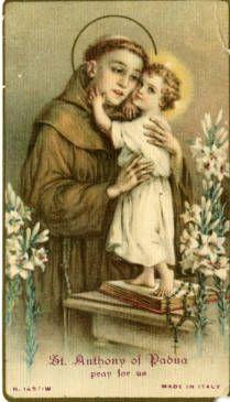 St. Anthony of Padua holy card :: Holy Cards Collection at the University of Dayton #saintanthony #stanthony #anthonyofpadua #infantjesus