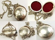 "Vintage Sterling Silver Spinning Locket Fob 20"" Chain"