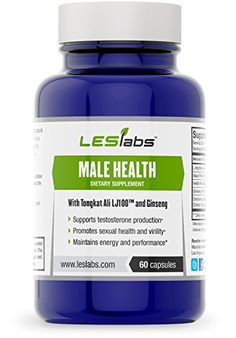 Male Health, Testosterone Support, Sexual Health & Performance Supplement by LES Labs (60 Vegetarian Capsules with Tongkat Ali LJ100, Maca Root, Ginseng Panax, Nettle Root and L-Arginine) • Natural Formula • 100% Money Back Guarantee