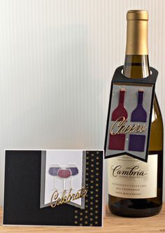 card and tag wine bottle and glasses - cheers celebrate - thanks for the invitation - for having us -
