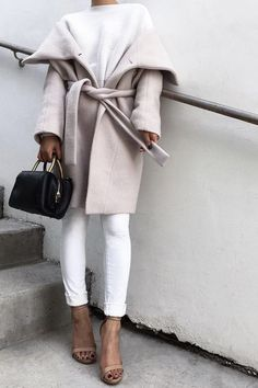What to Wear to Work, Casual Spring Friday Edition: White Sweater, White Skinny Jeans, Pale Blush Wrap Coat