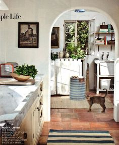 I like this floor, looks like it'd cover up dirt nicely. Also cream cabinets and marble sink.