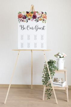 Printable Floral Seating Chart Wedding | Wedding Seating Plan | Be Our Guest | Flower Garland Seating Board | Customised Wedding Sign Spring Wedding, Garden Wedding, Seating Plan Wedding, Flower Garlands, Seating Charts, Color Card, Card Sizes, Dusty Pink, Wedding Signs