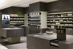 Chunky chipboard surfaces have been sanded and stained to look like marble at this Aesop skincare shop in Tokyo by Japanese studio Torafu Architects Shop Interior Design, Retail Design, Store Design, Visual Merchandising, Aesop Shop, Online To Offline, Tokyo Shopping, Cosmetic Shop, Cosmetic Display