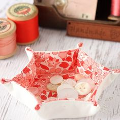 This small hexagon tray is the a beginner friendly sewing project and is perfect for storing small supplies such as buttons, beads, or jewel