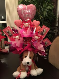 Calentines Day candy bouquet with a dog plush