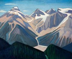 Lawren Harris - Group of Seven - I could get photos of great Canadian scenery and have the girls use his style in painting it with chalk-pastels or acrylics. Group Of Seven Art, Group Of Seven Paintings, Canadian Painters, Canadian Artists, Seascape Paintings, Landscape Paintings, Landscapes, Impressionist Landscape, Oil Paintings