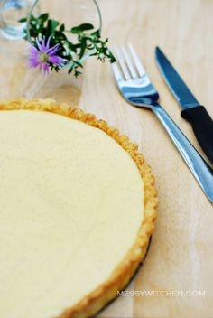 Vanilla Custard Tart from Messy Witchen - also shows how to make tartlet shells and gives a great tip for baking tart shells