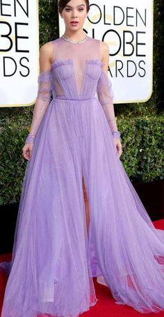 Celebrity Lilac Tulle Long Sleeves A Line See