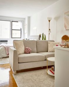 With limited square footage, it can be hard to figure out the proper proportions and sizes of said pieces to create division without overcrowding the space. Small Space Kitchen, Small Space Living, Small Spaces, Take A Seat, Love Seat, Maximize Small Space, Sofa Layout, Studio Apartment, Apartment Therapy