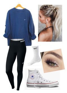 Nike set A fashion look from February 2018 by meg-frank featuring NIKE, Paul Frank and vintage Cute Outfits With Leggings, Cute Lazy Outfits, Teenage Outfits, Cute Outfits For School, Teen Girl Outfits, Sporty Outfits, Teen Fashion Outfits, Cute Athletic Outfits, Junior Outfits