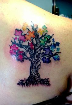 Autism tattoo. Would do puzzle pieces water colours.