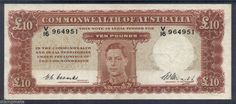 AUSTRALIA R60 PREDECIMAL NOTE £10 COMMON BANK COOMBS/WATTS FIRST YEAR 1949 F/VF