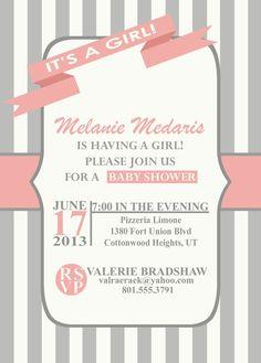 Digital Girl Baby Shower Invitation
