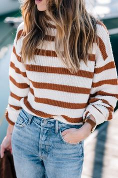 Rust burnt orange and white striped sweater, light high waisted jeans. Jess Ann Kirby wears a stripe sweater in Autumn maple tones. Source by kelizabethdsgns outfits Casual Street Style, Mode Outfits, Fashion Outfits, Womens Fashion, Style Fashion, Fashion Styles, Fashion Shirts, Emo Fashion, Fashion Ideas