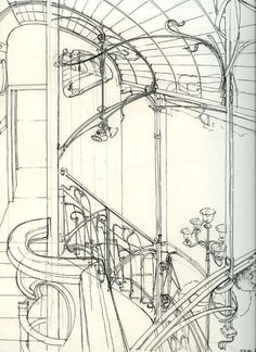 Dessin de Victor Horta You can see that Art Nouveau was all about echoing nature (in this case vines). Horta is often credited with founding Art Nouveau, and this is the famous Brussels' ribbon pattern. Architecture Art Nouveau, Architecture Drawings, Art Nouveau Design, Design Art, Art Sketches, Art Drawings, Art Nouveau Arquitectura, Jugendstil Design, Inspiration Art