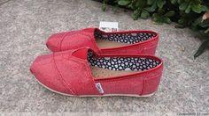 Sparkling Red Diamante Toms Canvas Shoes