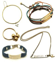 """Here's a selection of cool jewelry pieces that I'm loving from Scosha, a New York city based jewelry label by Australian born artist and designer Scosha Woolridge. I'm especially fond of the """"live, love, laugh"""" woven bracelet."""