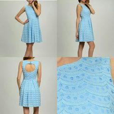 """NEW: Blue Scallop Spring Dress • Brand New, with tags.  * Brand: Moon Collection  * Color: Caribbean Blue  • Perfect for Spring / Summer * Sizing chart in photos  * Last two photos: Size SM dress modeled by me {I'm 5""""7} Moon Collection Dresses Mini"""