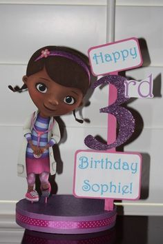 Doc McStuffins Personalized Birthday Centerpiece | SerendipityCelebrations - Seasonal on ArtFire