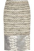 Tory Burch Vanessa leather-paneled tweed pencil skirt  Perfect office to evening skirt if you dare!