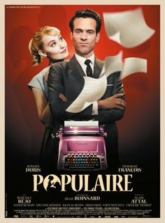 Populaire in US theaters September 2013 starring Romain Duris, Deborah Francois, Berenice Bejo. Spring, Rose Pamphyle lives with her grouchy widower father who runs the village store. Engaged to the son of the local me Movies And Series, Movies And Tv Shows, Great Films, Good Movies, Film Movie, French Romance, French Movies, Movie List, 2012 Movie