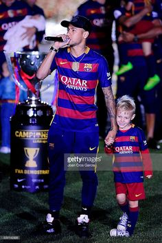 Neymar Jr. of F.C.Barcelona, and his son David Lucca, speaking during the Spanish League and 'Copa del Rey' trophys celebration, May 23, 2016 in Barcelona, Spain.